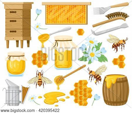 Cartoon Honey. Beekeeping Elements, Honeycombs, Beehive, Bees And Honey In Glass Jar Isolated Vector