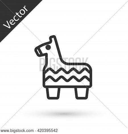 Grey Line Pinata Icon Isolated On White Background. Mexican Traditional Birthday Toy. Vector