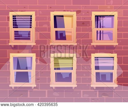 House Facade Windows, Front View Multistorey Building Exterior Of Red Brick With Glasses Reflect Cit