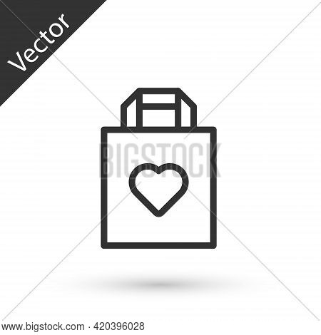 Grey Line Shopping Bag With Heart Icon Isolated On White Background. Shopping Bag Shop Love Like Hea