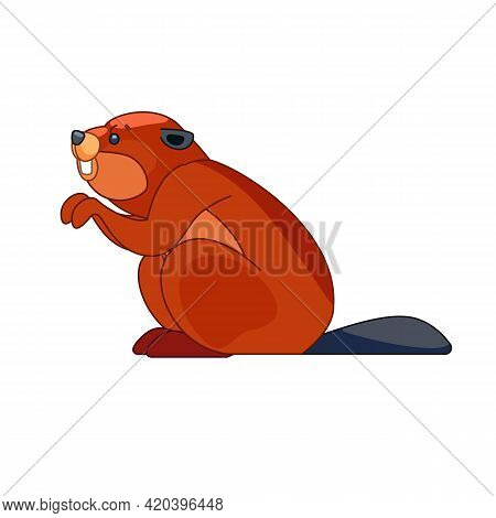 Beaver Builds A Dam. Cartoon Character Of A Small Mammal Animal. A Wild Forest Creature With Brown F