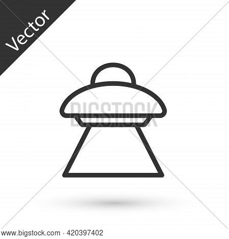 Grey Line Ufo Flying Spaceship Icon Isolated On White Background. Flying Saucer. Alien Space Ship. F