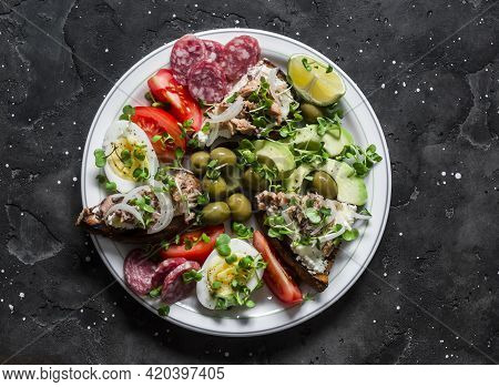 Large Snack, Appetizers, Tapas Plate - Salami, Mackerel Cream Cheese Sandwiches, Olives, Avocado, To