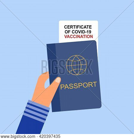 Hand Holding Passport And Covid19 Vaccination Certificate In Flat Design. Vaccine Passport Concept V
