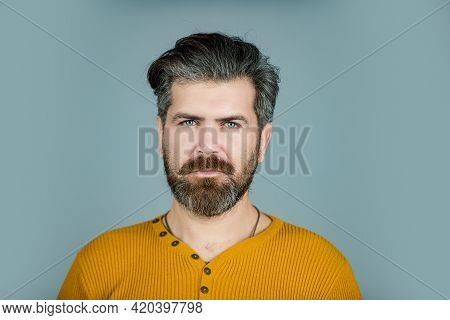 Serious Man Face. Bearded Guy. Human Expression Emotion Concept. Portrait Of Confident Serious Man.