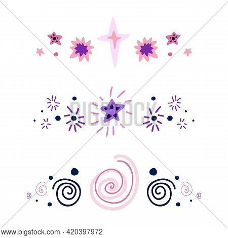 Set Of Spacers With Stars, Dots And Spiral. Vector Space Design Elements. Hand Drawn Flat Baby Cosmo