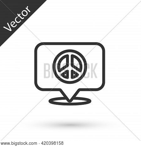 Grey Line Location Peace Icon Isolated On White Background. Hippie Symbol Of Peace. Vector