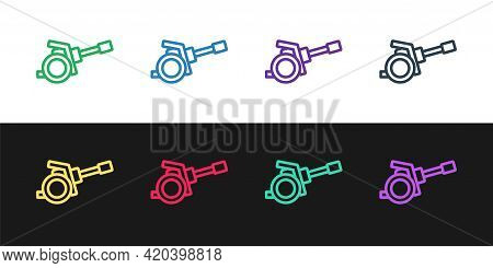 Set Line Howitzer Icon Isolated On Black And White Background. Shooting From A Gun. Artillery. Vecto