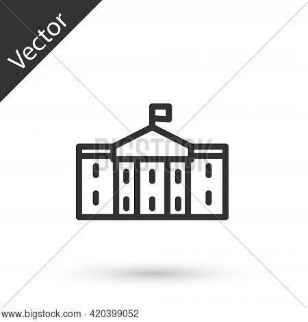 Grey Line United States Capitol Congress Icon Isolated On White Background. Washington Dc, Usa. Vect