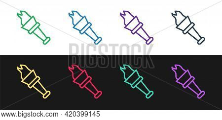 Set Line Torch Flame Icon Isolated On Black And White Background. Symbol Fire Hot, Flame Power, Flam