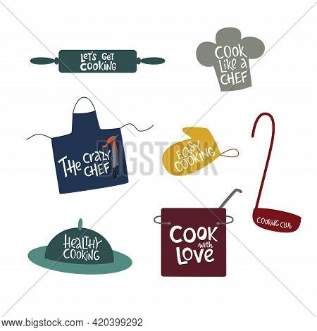 Cooking Lettering Sing Set With Kitchen Tools. Vector Stock Illustration Isolated On White Backgroun