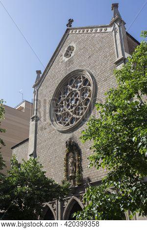 Barcelona, Spain, May 1, 2020 - Church De Sant Ramon De Penyafort Facade. Ancient Sacred Romanesque