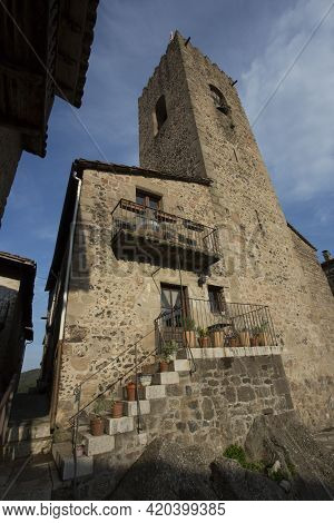 Santa Pau, Spain, May 1, 2020 - Medieval Tower Of Old Picturesque Catalan Town. Typical Spanish Arch