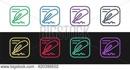 Set Line Declaration Of Independence Icon Isolated On Black And White Background. Vector