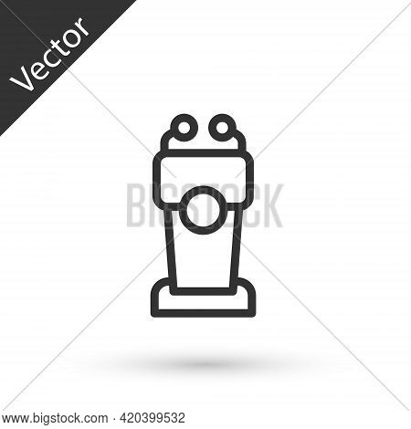 Grey Line Stage Stand Or Debate Podium Rostrum Icon Isolated On White Background. Conference Speech
