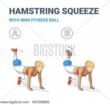 Girl Doing Hamstring Squeeze With Fitness Mini Ball Home Workout Exercise Guide Color Illustration.