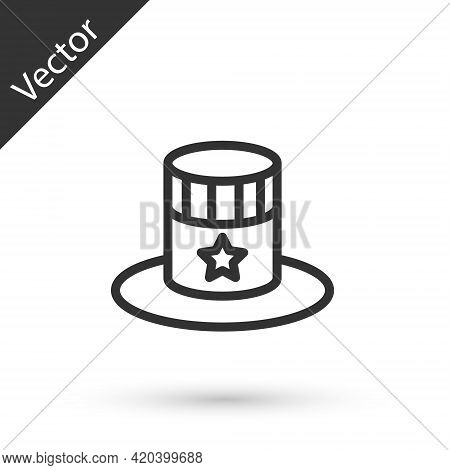 Grey Line Patriotic American Top Hat Icon Isolated On White Background. Uncle Sam Hat. American Hat