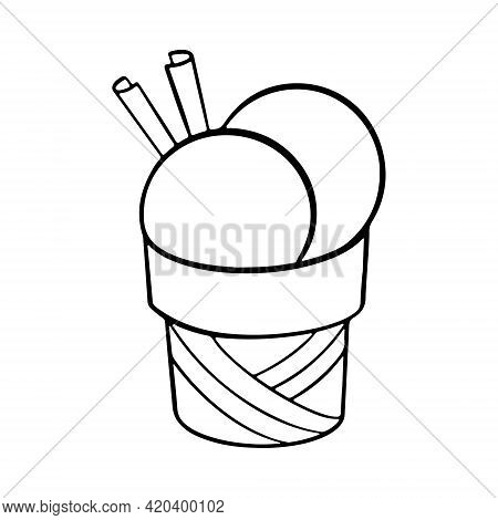 Hand Drawn Ice Cream Balls Served In Paper Bowl Decorated With Cinnamon Sticks. Vector Hand Drawn Il
