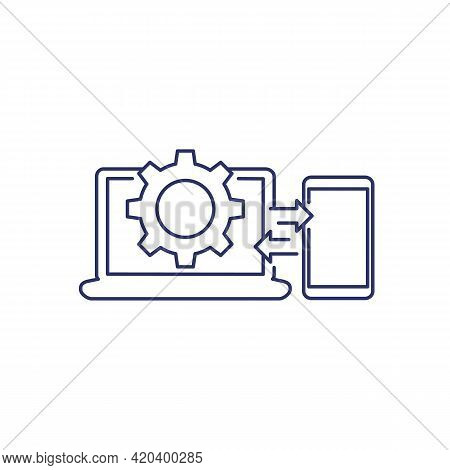 Data Synchronization Between Laptop And Phone Icon