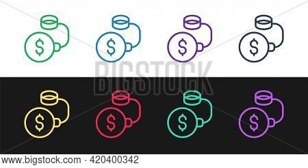 Set Line Debt Ball Chained To Dollar Coin Icon Isolated On Black And White Background. Big Heavy Deb