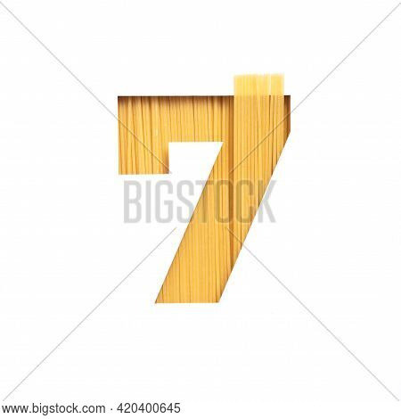 Number Seven Made Of Pasta And White Cut Paper In Shape Of Seventh Numeral. Typeface For Grocery Org