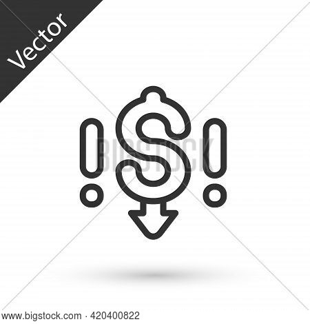 Grey Line Dollar Rate Decrease Icon Isolated On White Background. Cost Reduction. Money Symbol With