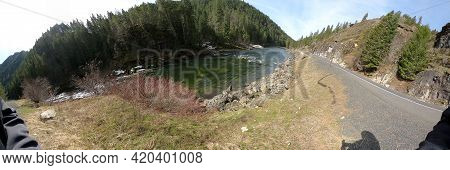 Super Pano Ultra Wide Shot Idaho Wilderness Side Of The Road With A River