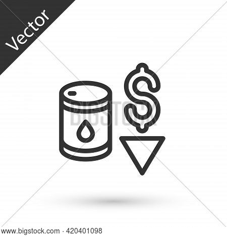 Grey Line Drop In Crude Oil Price Icon Isolated On White Background. Oil Industry Crisis Concept. Ve