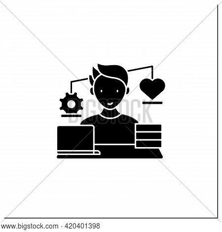 Workaholic Glyph Icon.work Before Personal Lives. Give Preference To Job. Man Works On Laptop. Hard