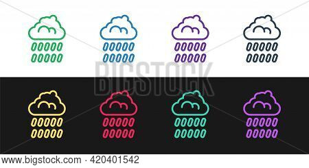 Set Line Cloud With Rain Icon Isolated On Black And White Background. Rain Cloud Precipitation With