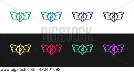 Set Line Aviation Emblem Icon Isolated On Black And White Background. Military And Civil Aviation Ic