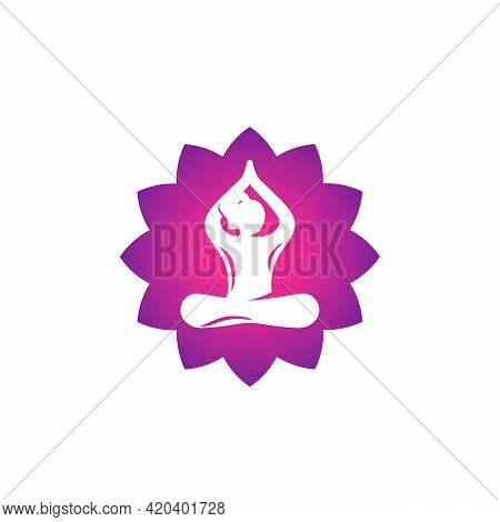 Yoga Logo, Meditation, Lotus Pose, Girl Meditates