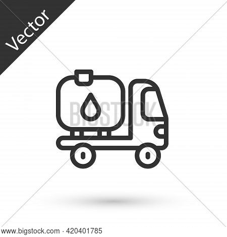 Grey Line Fuel Tanker Truck Icon Isolated On White Background. Gasoline Tanker. Vector