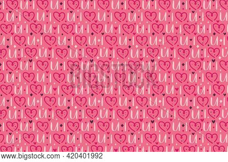 St Valentine's Holiday. Pink Heart With Lettering. Relationship, Emotion, Passion, Love. Pattern, Te