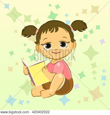 Little Child. Girl. Sits Playing Indulges. Cheerful Kind Funny. Cartoons Flat Style. Preschool Age.
