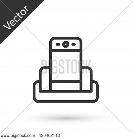 Grey Line Metal Detector In Airport Icon Isolated On White Background. Airport Security Guard On Met