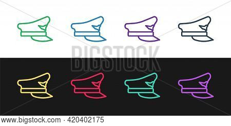 Set Line Pilot Hat Icon Isolated On Black And White Background. Vector