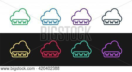 Set Line Software, Web Development, Programming Concept Icon Isolated On Black And White Background.