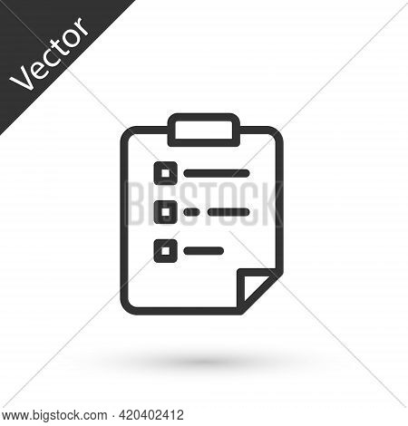 Grey Line Clipboard With Checklist Icon Isolated On White Background. Control List Symbol. Survey Po
