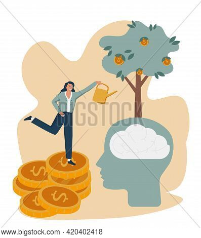 Mentoring And Coaching As Personal Potential Progress Tiny Person Concept. Business Guide And Financ