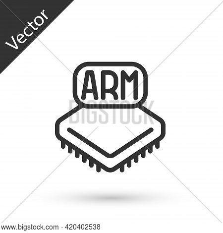 Grey Line Processor Icon Isolated On White Background. Cpu, Central Processing Unit, Microchip, Micr