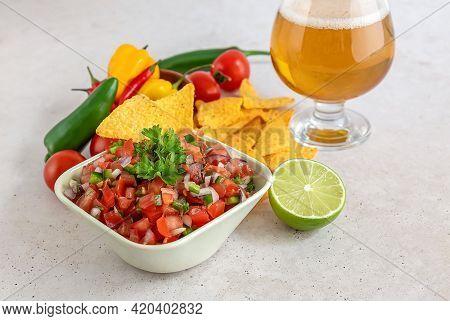 Pico De Gallo Or Salsa Fresca, Traditional Mexican Sauce, Made From Tomato, Onion, Serrano Pepper, L