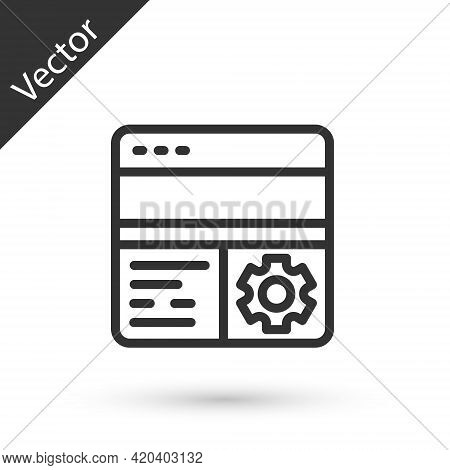 Grey Line Debugging Icon Isolated On White Background. Debugging Tool. Magnifying Glass On Bug Progr