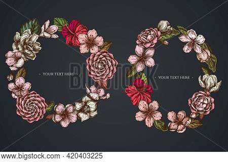 Dark Floral Wreath Of Hibiscus, Plum Flowers, Peach Flowers, Sakura Flowers, Magnolia Flowers, Camel