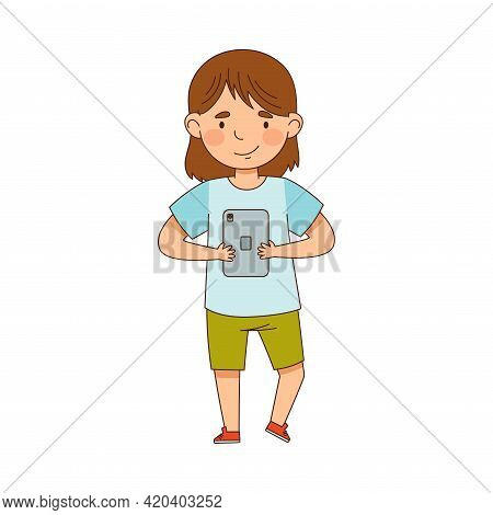 Pretty Little Girl Using Tablet Pc As Electronic Gadget Vector Illustration