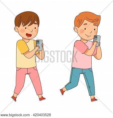 Cute Boys Walking And Gazing In Smartphone Vector Illustration