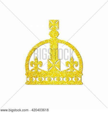 Realistic Golden Crown Isolated On White Background. Crown Headdress For The King And Queen. Royal G