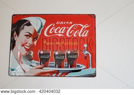 Bordeaux , Aquitaine France - 05 08 2021 : Coca Cola Pinup Vintage Plate Advertisement Sign Logo And