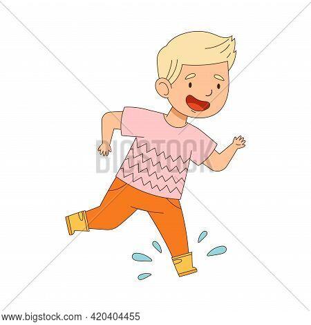 Laughing Boy In Yellow Rubber Boots Enjoying Spring Season Splashing In Puddle Vector Illustration