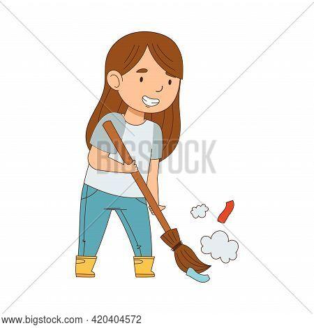 Cheerful Girl Enjoying Spring Season Engaged In Litter Pick Gathering Rubbish With Broom Vector Illu